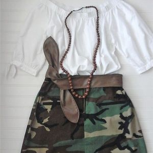 Vintage Camo Maxi Skirt with Side Slits